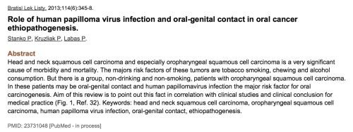 Sexo oral, papiloma y cáncer de boca.