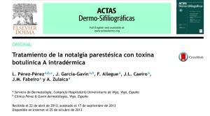 Noalgia parestésica y amiloidosis maculosa. Tratamiento con toxina botulínica.