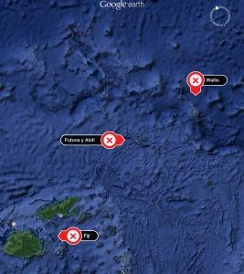 Wallis y Futuna (Polinesia) con las islas Fiji (Melanesia).