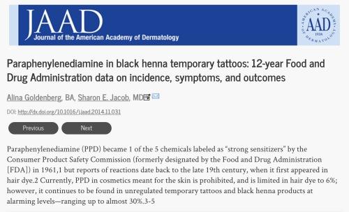 Revisión de JAAD sobre henna negra y PDD