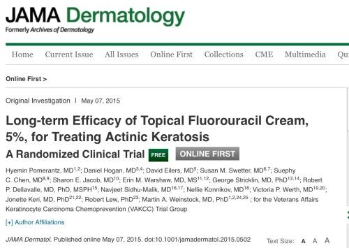 Eficacia a largo plazo en queratosis actínicas de la crema de 5 fluorouracilo al 5%