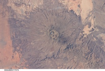 Volcán Emi Koussi desde satélite. Foto: NASA's Marshall space flight center